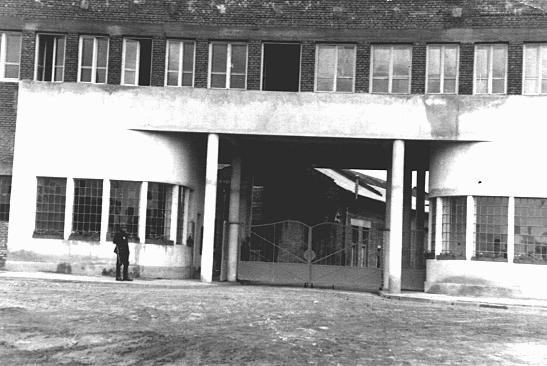 Entrance to Oskar Schindler's enamel works in Zablocie, a suburb of Krakow. Poland, 1939-1944