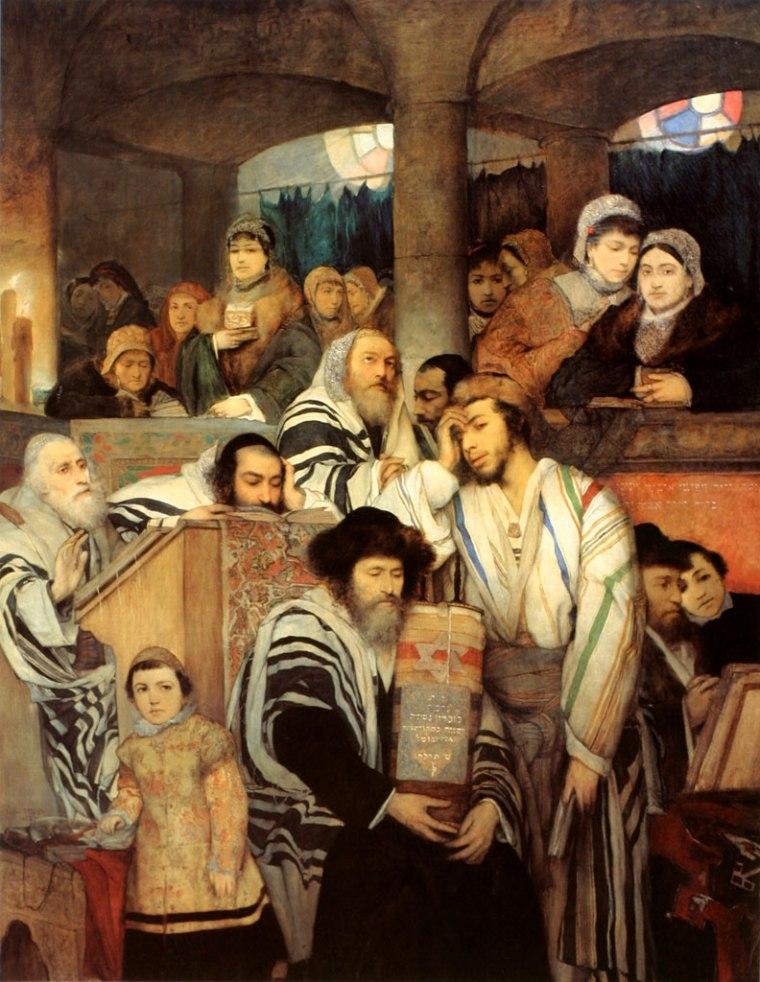 tableau-juifs-priant-synagogue-yom-kippour-large