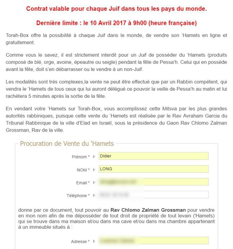 Contrat de Hametz