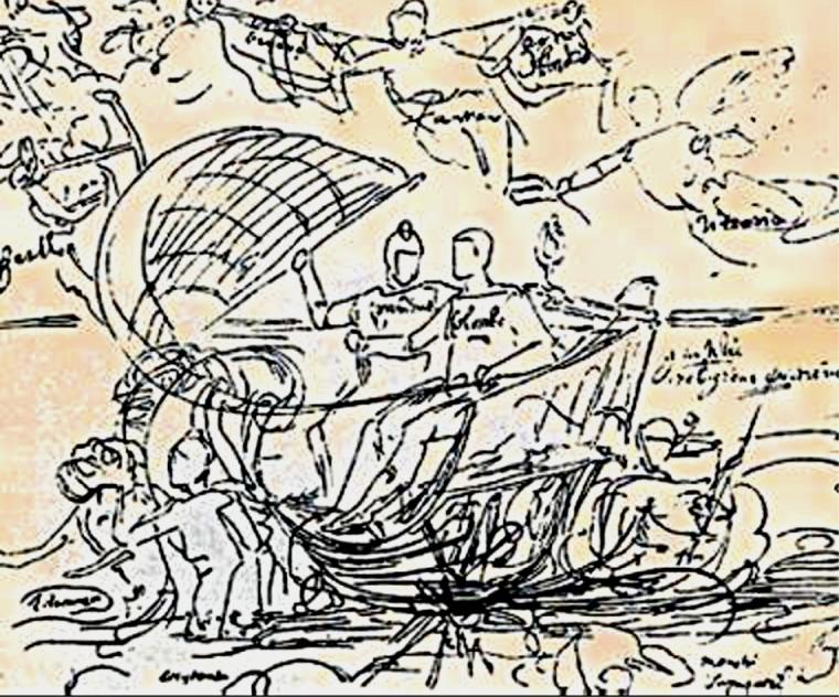 Colomb escorté par les anges